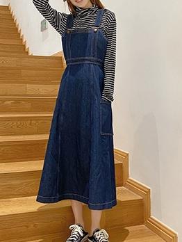 Vintage Style Pockets Navy Denim Sleeveless Dress