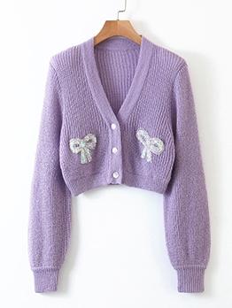 Sequin Bow Decor Purple Cardigan Sweater