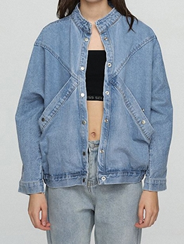 Bf Style Stand Neck Denim Jackets For Women