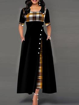 Fashion Plaid Split Maxi Dresses For Women