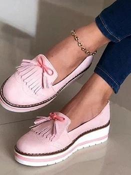 Round Toe Tassels Bow Decor Elevator Shoes