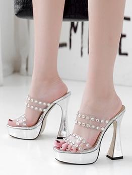Rhinestone High Platform Heel Ladies Slippers