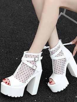 Gauze Patchwork Dots Peep Toe Ladies Boots