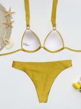 Sexy Solid Spaghetti Strap Bikini Set For Women