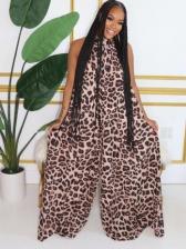 Backless Sleeveless Leopard Wide Leg Jumpsuit