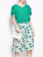 Green Ruffle Detail T-Shirt With Print Knee Length Skirts