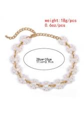 Faux Pearl Flower Shape Patchwork Choker Necklace