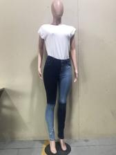 Trendy Color Block Mid Waist Skinny Jeans