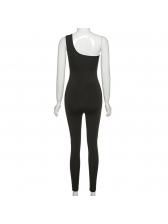 Solid Color One Shoulder Bodycon Jumpsuit