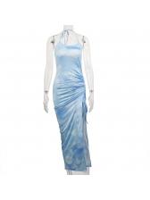 Sexy High Split Drawstring Sleeveless Maxi Dress