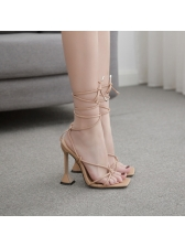 Roman Style Square Toe High Heel Strappy Sandals