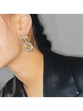 Exaggerated Personality Rhinestone Alloy Material Earrings