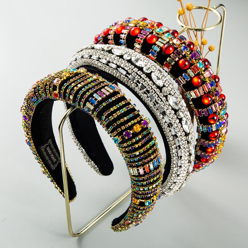 Baroque Style Sponge Patchwork Colorful Rhinestone Hair Band