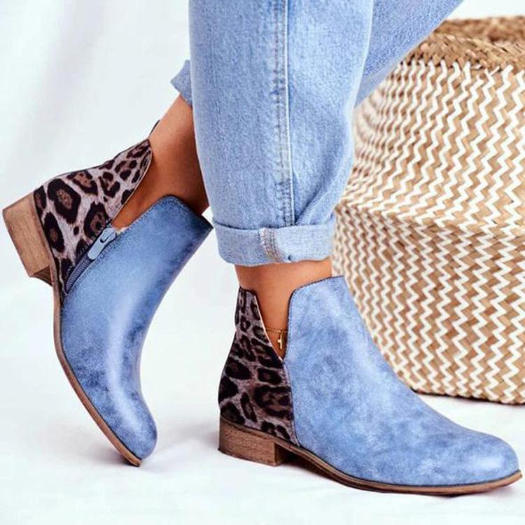 Vintage Leopard Patchwork Ankle Boots