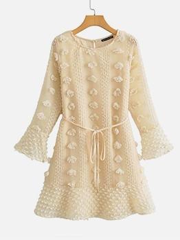 Simple Solid Flocking Long Sleeve Dress