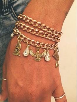Thick Chain Rhinestone Eagle Pendant Bracelet Sets