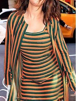 Casual Wear Striped 2 Piece Long Sleeve Dress Set