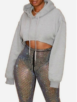 Plain Gray Simple Cropped Hoodies For Women