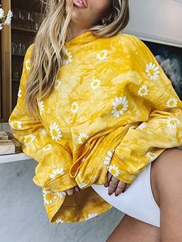 Daisy Print Tie Dye Hoodies For Women