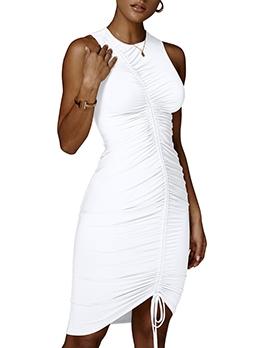 Seductive Drawstring Solid Sleeveless Dress