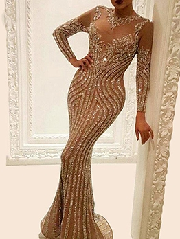 Crew Neck Foil Printing Long Sleeve Evening Dresses