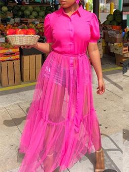Turn-Down Collar Gauze Patchwork Maxi Dress