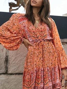 Vintage Printed v Neck Long Sleeve Dress