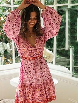 V Collar Printed Drawstring Long Sleeve Dress
