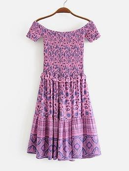 Tribal Printed Short Sleeve Off Shoulder Dress
