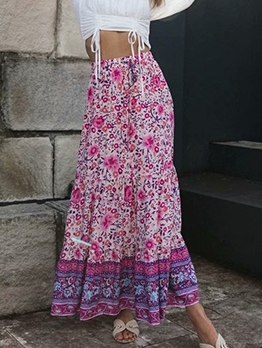 Elastic Waist Printed Ladies Maxi Skirt