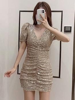 V Neck Ruched Short Sleeve Dress