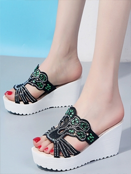 Rhinestone Slipper Women Summer Wedges
