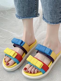 Contrast Color Bow Slip On Slipper