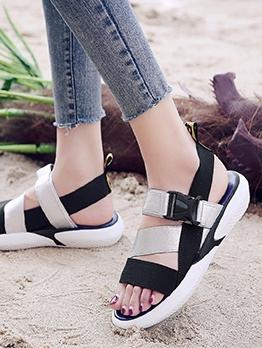 Fashion Contrast Color Womens Flat Sandals