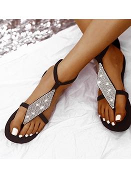 Bohemian Rhinestone Womens Flat Sandals