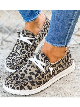 Casual Leopard Printed Slip On Shoes For Women