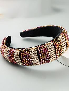 Contrast Color Shiny Beads Rhinestone Wide Headband