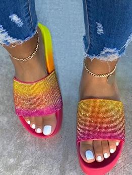 Color Block Women Open Toe Slippers