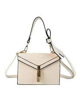 Solid Color Stone Grain Bow Shoulder Bags