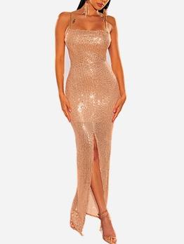 Split Hem Sleeveless Sequin Evening Dress