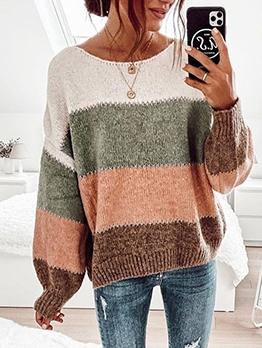 Crew Neck Contrast Color Ladies Sweater