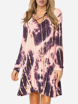 Euro Tied Dye Women Long Sleeve Dress