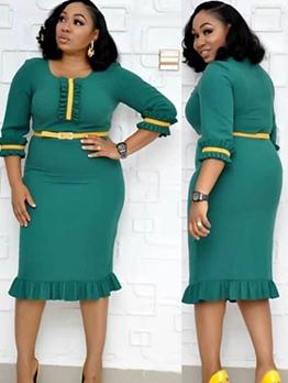 Contrast Color Half Sleeve Bodycon Dress