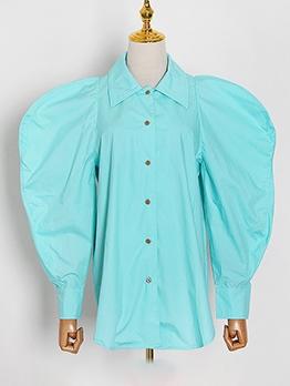 Single-Breasted Lantern Sleeve Vintage Blouse