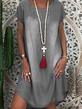 Hot Sale Washed Short Sleeve Denim Dress