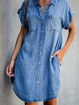 Single-Breasted Short Sleeve Denim Shirt Dress