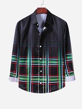 Turndown Neck Long Sleeve Plaid Shirt For Men