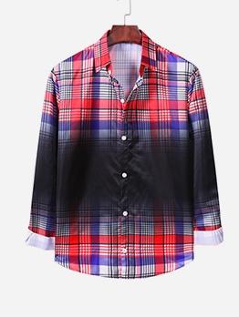 Graduated Color Plaid Print Long Sleeve Mens Shirt