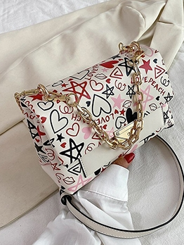 Graffiti Printed Chain Pu Women Shoulder Bags