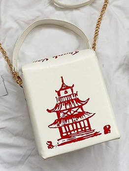 Tower Printed Square Box Shoulder Bag